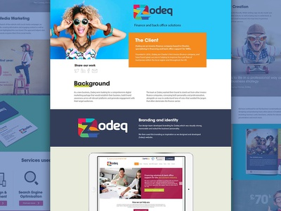 Client case study branding mockup colourful responsive ux ui fun bright web design