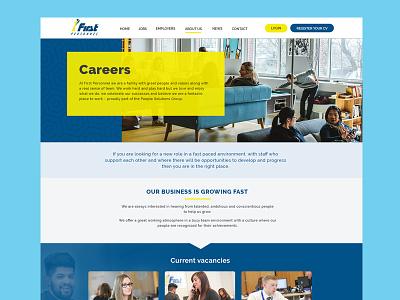 Recruitment Site website employment yellow blue header layout recruitment ux ui web design