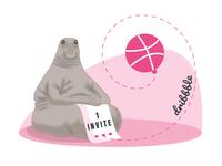I'm waiting for you (invite) humour humor pink gray invitation invites dribbble invite