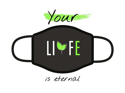 Design For Good Face Mask (Life) new design logo leafs leaf green mask challenge dribbble illustrator illustration
