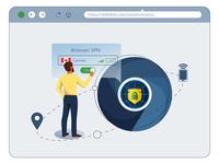 Illustration for VPN service web iit chrome vpn app vpn webdesign web design new flat blue vector illustrator illustration