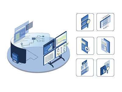 Isometric web illustration (Serial Monitor) it monitoring monitor isometric illustration isometric isometry blue vector new illustrator illustration