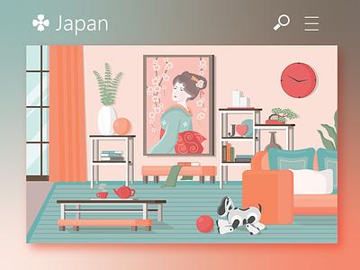 Japanese interior red coral flat web  design illustration illustrator japanese art japan interior