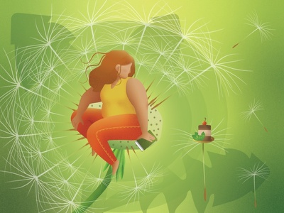 Summer shape summer new dribbble flat illustrations flat illustration flat cake dandelion diet girl yellow green webillustration illustration