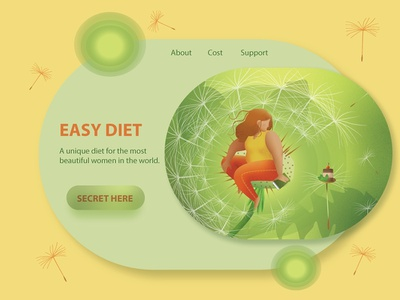 WEB version dribbble ux design ui elements illustration illustrator dandelion girl green yellow vector design vector gui design gui add web  design web