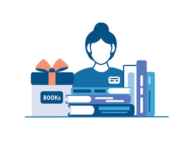 Illustration in the style of the icons postcard design bookstore teacher library books book monochrome blue icons icon new dribbble vector illustrator illustration
