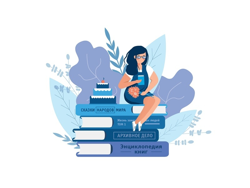 Flat illustration for printing, website postcard holiday congratulation books book print web illustration flat new vector cover design blue girl illustrator dribbble illustration