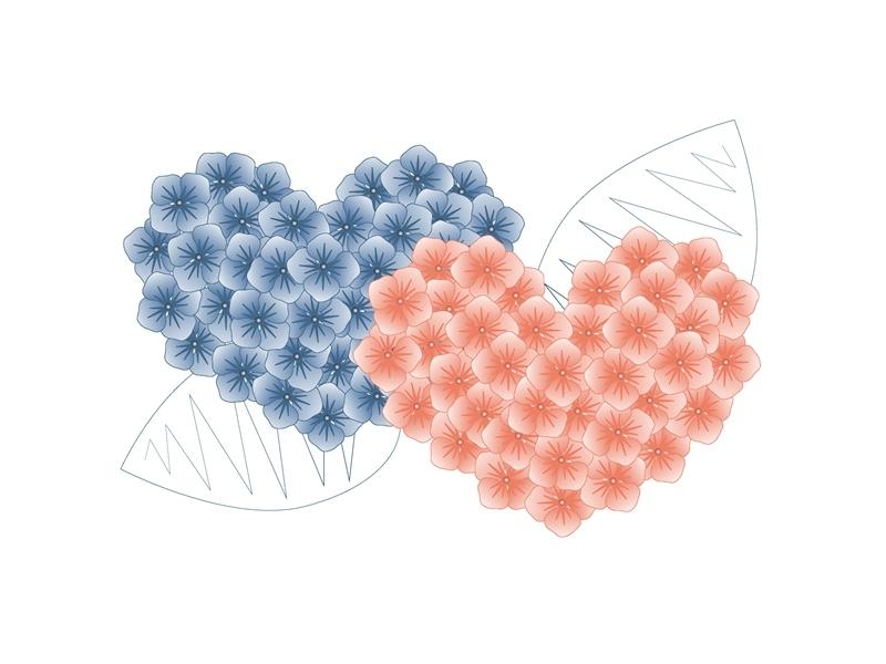 Summer-Love -Flowers flower pink blue vector new flat dribbble illustrator illustration love summertime summer flowers