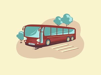 Bus - web illustration car red blue web design ui bus vector flat new dribbble illustrator illustration
