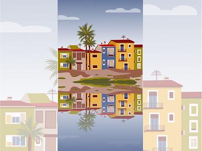Colored street - illustration for app reflection yellow arhitecture street house cover design app design web design flat blue vector dribbble new illustrator illustration
