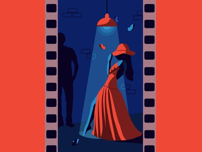 Ledy in red app design иллюстратор иллюстрация девушка dark blue red woman girl ledy new vector dribbble illustrator illustration