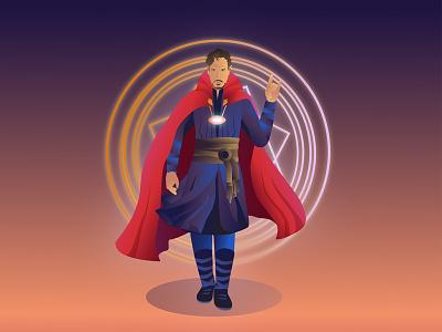 Doctor Strange character design character gradient doctor strange cover design new vector dribbble illustrator illustration