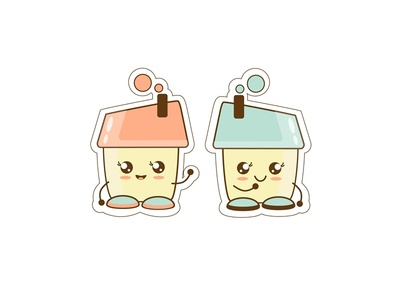 Stikers houses character design character emojis emoji stickers sticker house pink flat blue new vector dribbble illustrator illustration