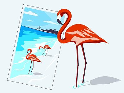 Poster flamingo sea summer posters poster flamingos flamingo blue flat vector new illustrator dribbble illustration