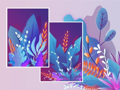 Nature illustrations leaves nature gradient flat blue new vector dribbble illustrator illustration