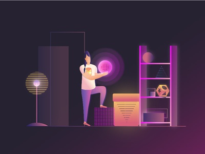 Book illustration book illustration geometric neon colors neon blue girl vector new dribbble illustrator illustration