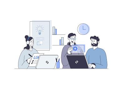 Flat illustration for website character designer developers developer team ux new webdesign web design blue flat vector dribbble illustrator illustration