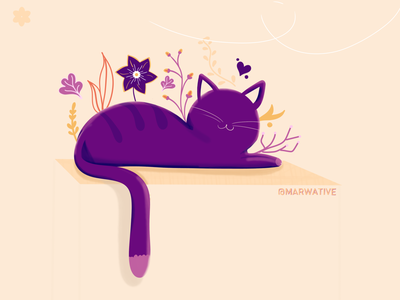 Purple Cat art digital design cute animals ideas free doodles plants flower floral design colorful business cat illustration illustraion sketchbook characters cute animal kitty cute cat