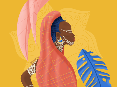 Bright thoughts woman african woman minimalism sketches marwative style-guide sari humanity people human creative illustration dye beautiful leaves yellow tatto african africa sketchbook