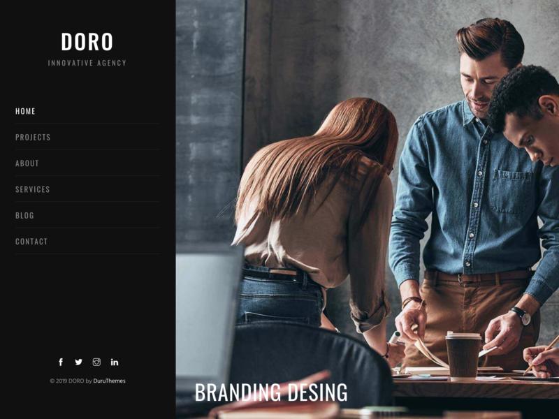 DORO - Creative Agency Multi-Purpose Template vertical menu vertical unique sidebar menu resume portfolio modern cv creative corporate clean black and white black agency