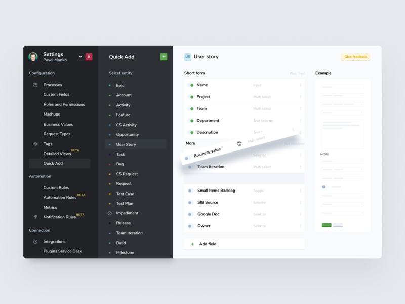 Quick add setup product design settings app setup quick add targetprocess agile web ui