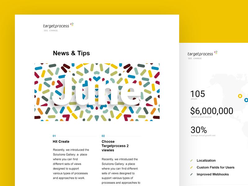 Newsletter targetprocess web clean colors igile kanban scrum html newsletter