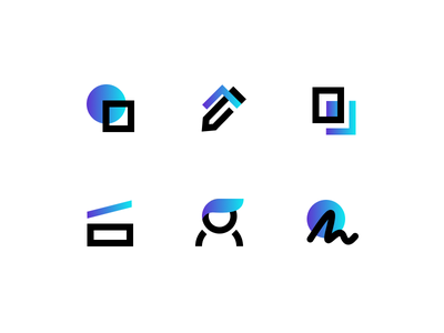 Icons esign scan copy pen person gradient bold set icons