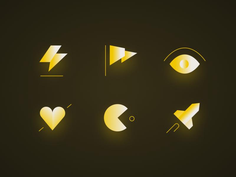 Icons rocket pac man eyed light heart gradient targetprocess icon