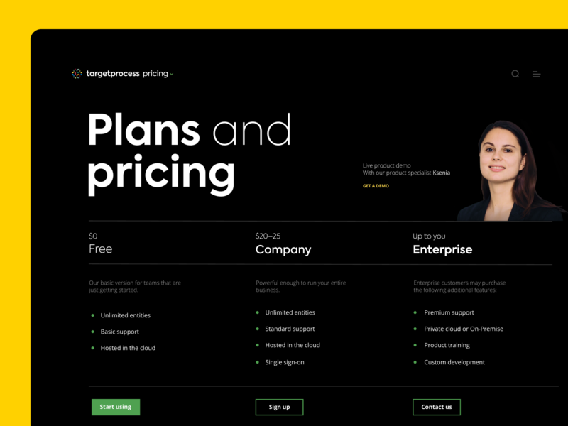 Plans and pricing targetprocess agile web design website ui