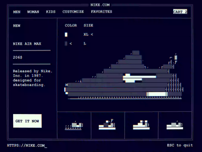 Grandpa Ux old school user flow shop snickers shoe concept nike ascii ui ms dos web