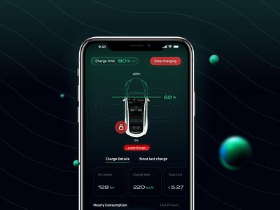 Mobidash App futuristic eletric car charge charging tesla digital design app ux uiux ui hightech