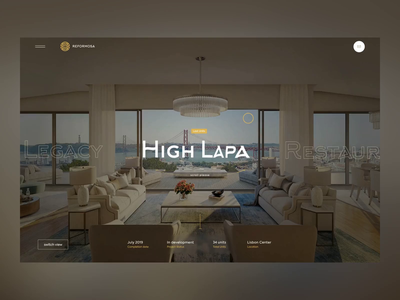 Luxury Real Estate slider type navigation ui animation uiux interaction cursor real realestate building transitions animation luxury gold web ux minimalistic design portugal ui