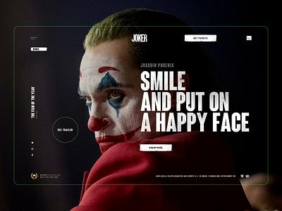 Joker Movie Website minimalistic ux ui interface big type grundge dark animation transition joaquin phoenix design webdesign web movie joker
