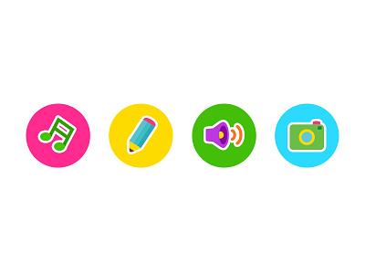Kids Alphabet App Icon camera sound pencil pen music note kids
