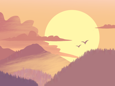 Sunset Quick Illustration flat design poster design landscape design landscape landscaping character design graphic design branding creative design illustration