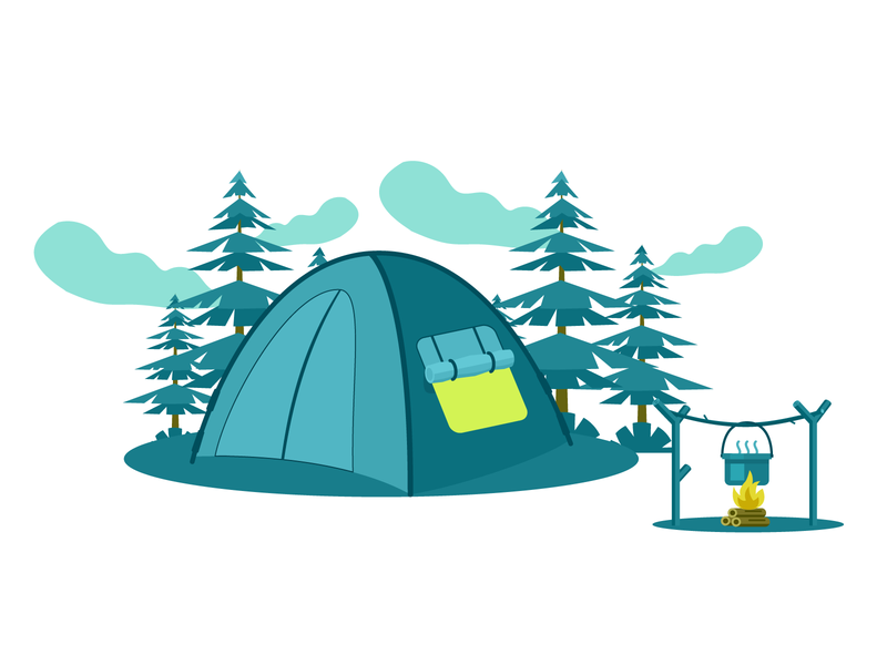 Camping Illustration character design design vector flat design landscape illustration landscape design landscape graphic design creative design branding illustration
