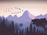 Forest Evening Scene Illustration