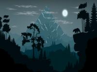 Snow Mountain Night Scene Illustration