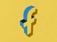 3d Facebook minimal flat texture art vector 3d facebook retro illustraion