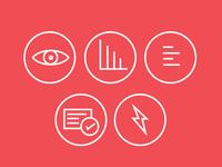 Stripes Icons creative symbol logo circle minimal menu lightning graph eye art line icons