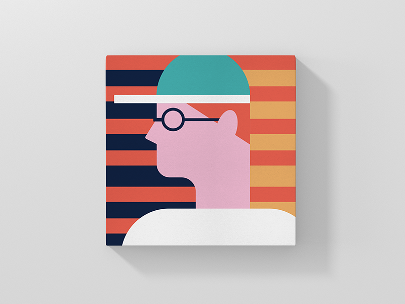 Citizen illustration icon person art direction glasses hat man lines vector character