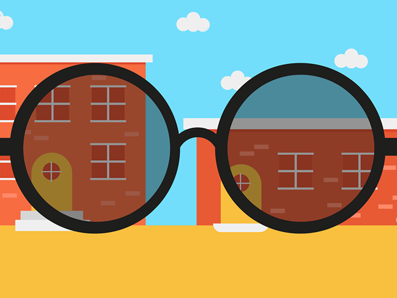 Shady fashion community clouds brick building glasses sun illustration editorial