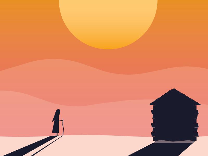 Walking the Desert walk house shadow hills gradient desert illustration character