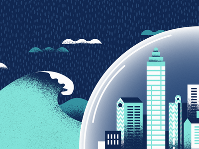 Under the Dome shield dome bubble storm rain disaster tsunami skyline illustrator architechture america editorial illustration city