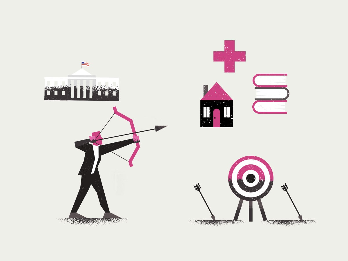 PolicyEd Icons illustrator texture icon business flat minimal man bow flag arrow black white house dc icons target archer editorial art vector illustration