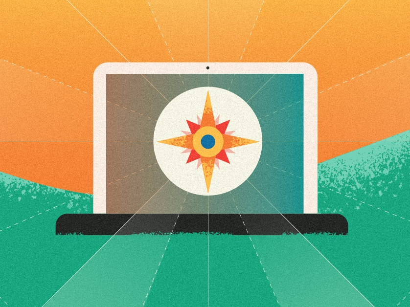 Your Social Compass vector art direction texture illustrator art editorial flat minimal design graphic technology illustration laptop tech