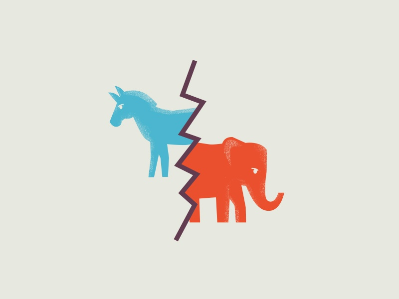 Political Divide democracy democrat politics art direction texture illustrator flat business minimal geometric america design graphic editorial art vector illustration