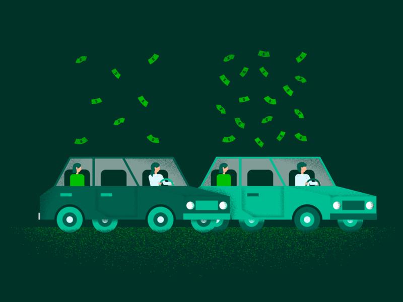 Uber Pay Inequality texture car money business flat minimal design vector illustration