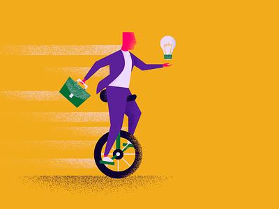 Balance of Tradition & Innovation geometric unicycle briefcase lightbulb texture flat minimal design vector illustration