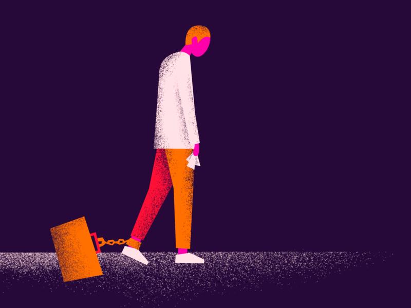 Work Kills stress sick briefcase work illustrator geometric texture flat minimal editorial design graphic illustration